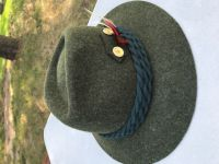 Green Wool Hat With Dark Green Rope And Feather